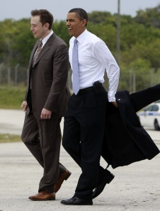 Elon Musk with president Obama at Cape Canaveral in 2010 – photo by Steve Jurvetson.
